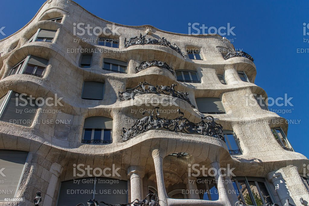 La Pedrera, Famous building was designed by Antoni Gaudi stock photo