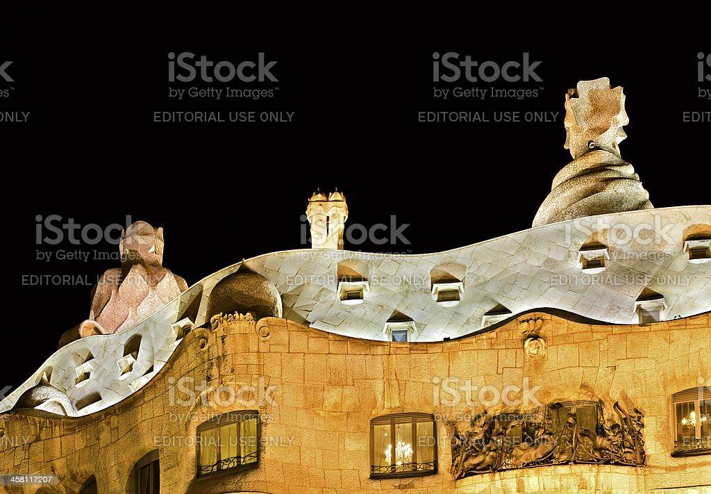 'La Pedrera' - nightly roof stock photo