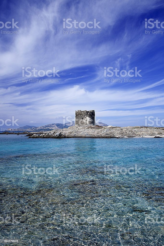 La Pelosa tower in Stintino. Sardinia, Italy royalty-free stock photo