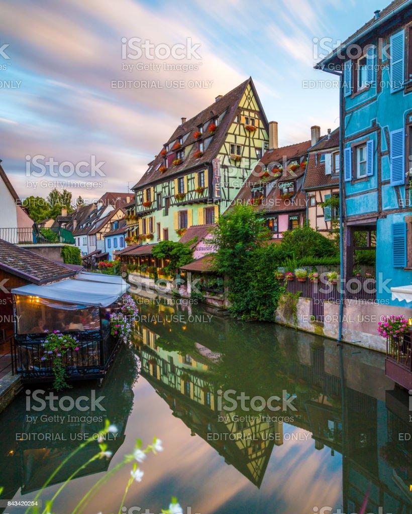 La Petite Venise in Colmar at Sunset stock photo