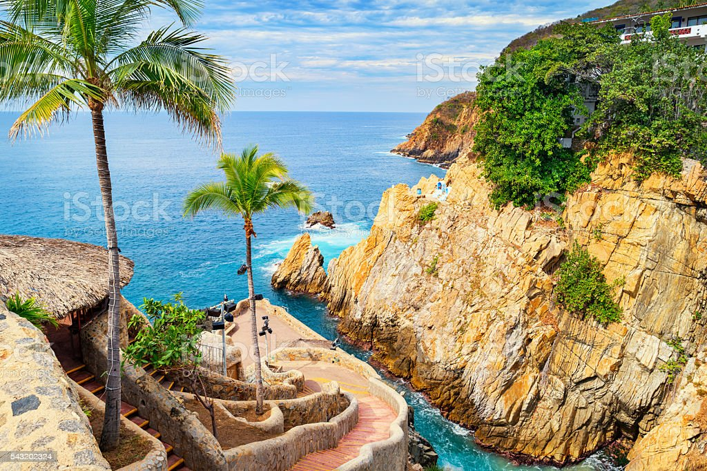 La Quebrada Cliffs and Promenade in Acapulco Mexico stock photo