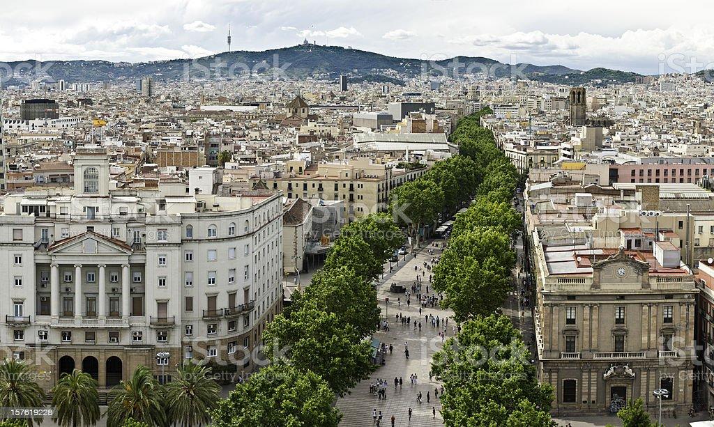 La Rambla Barcelona aerial cityscape panorama Barri Gotic Catalonia Spain stock photo