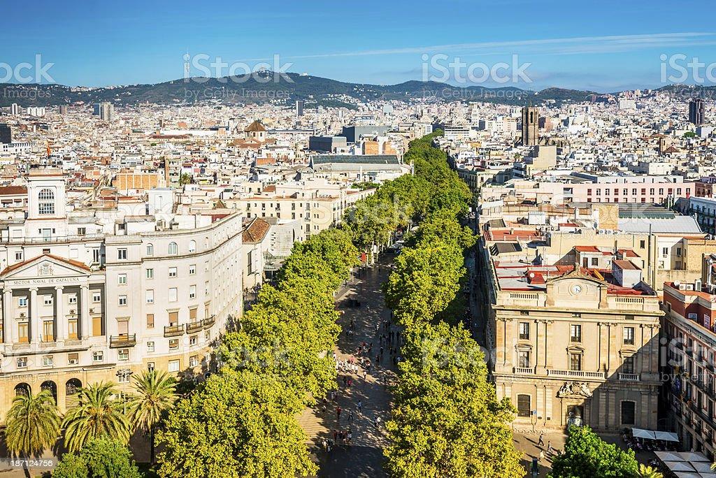 La Rambla Barcelona Aerial View stock photo