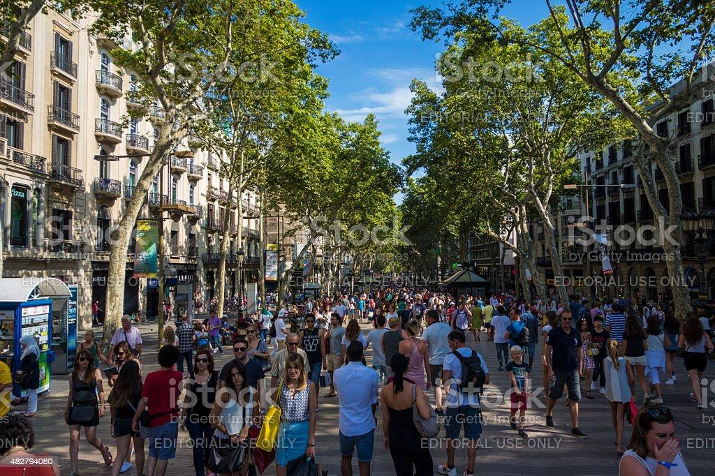 La Rambla in Barcelona, Spain. stock photo
