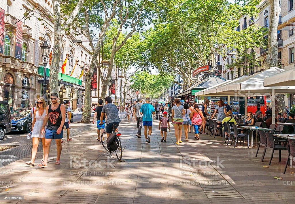 La Rambla in Barcelona, Spain stock photo