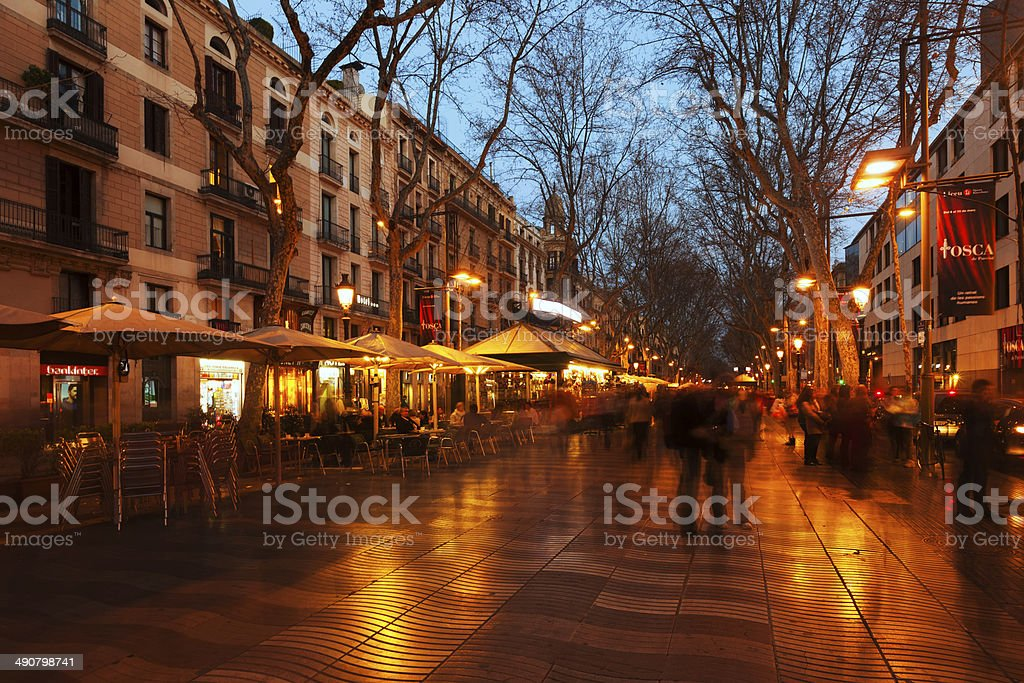 La Rambla in evening. Barcelona stock photo