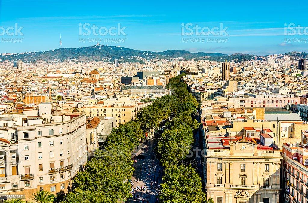La Rambla in Summer, Barcelona stock photo