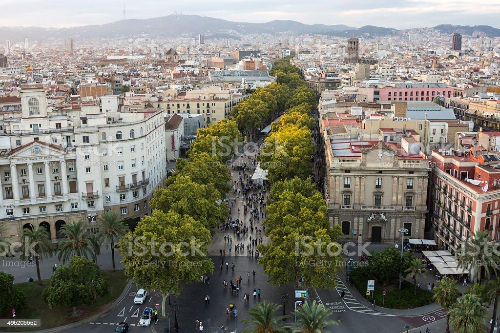 La Rambla Street in Barcelona at Sunset stock photo