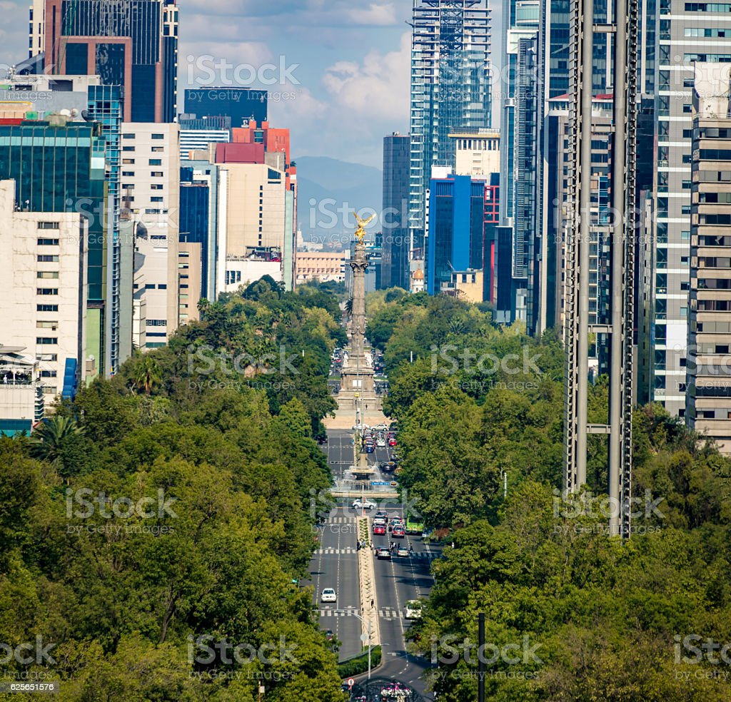 La Reforma Avenue and Angel of Independence, Mexico City, Mexico stock photo