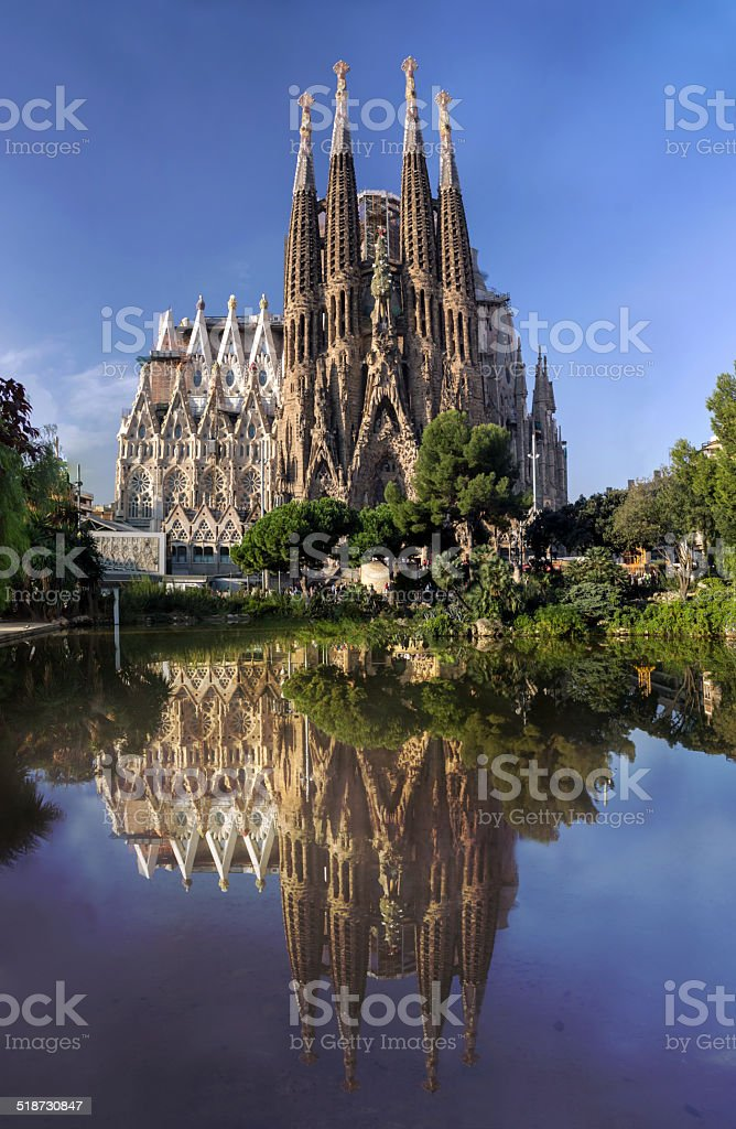 BARCELONA, SPAIN - OCTOBER 8: La Sagrada Familia cathedral stock photo