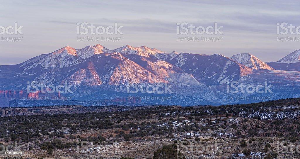 La Sal Mountains in Winter Utah royalty-free stock photo