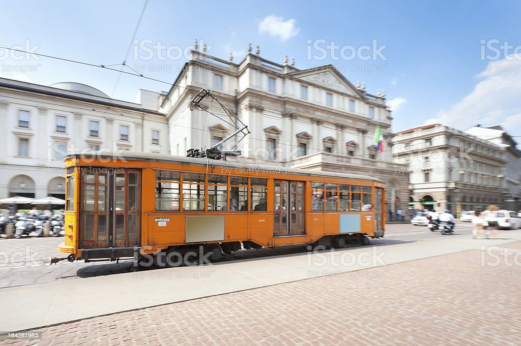 La Scala and Tram, Milan stock photo