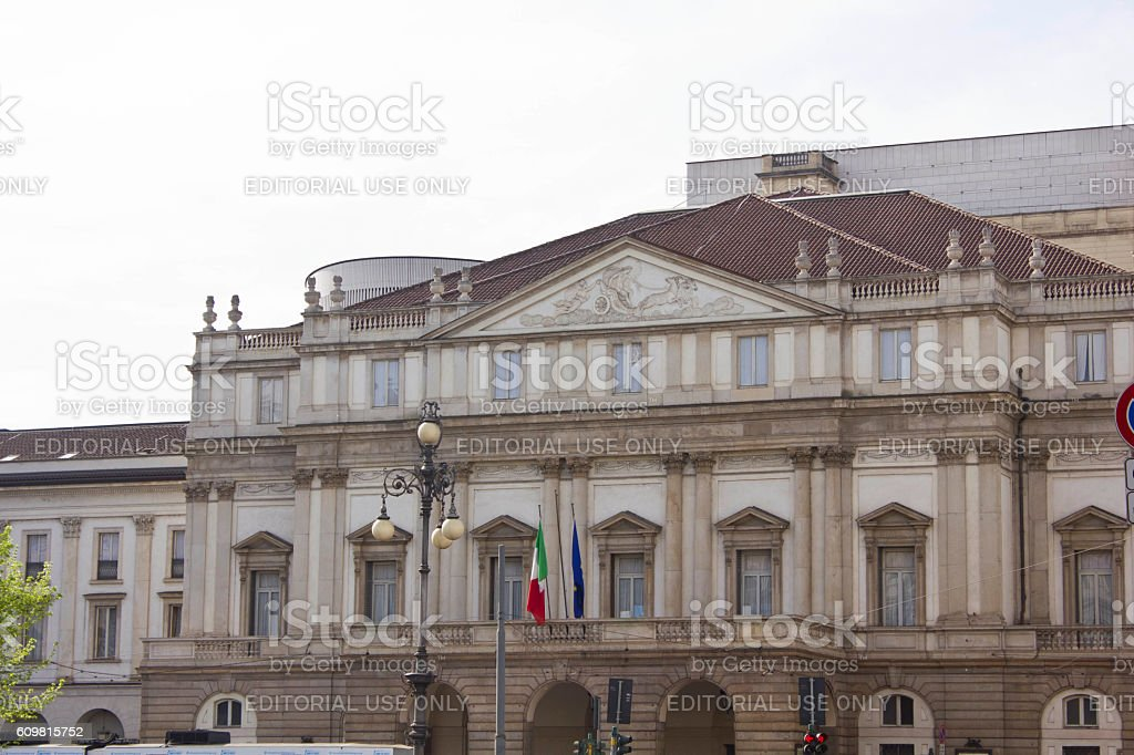 La Scala opera house facade in Milan at day time stock photo