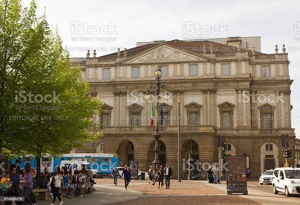 La Scala opera house facade in Milan stock photo