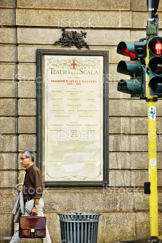 La Scala Theatre Affiche, Milan, Italy royalty-free stock photo
