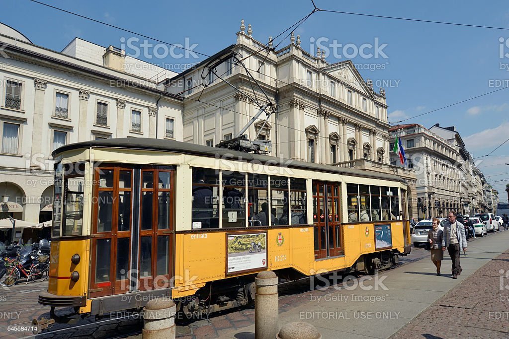 La Scala Theatre in Milan with old tram stock photo