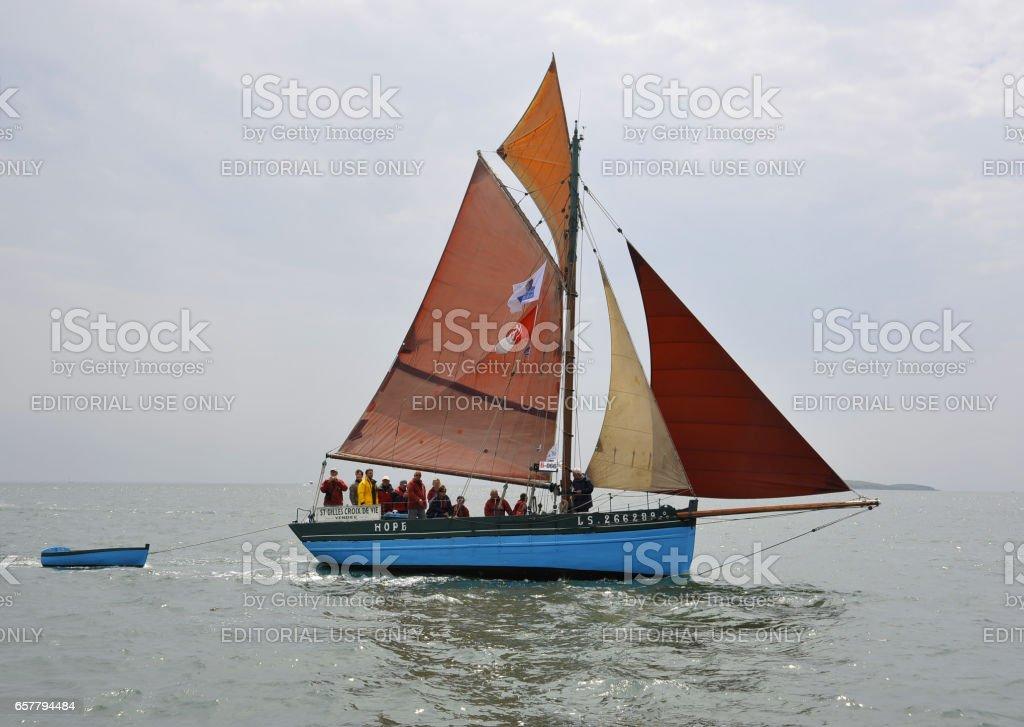 La Semaine du Golfe; bi-annual classic boat festival. A classic fishing boat; the 'Hope'. stock photo