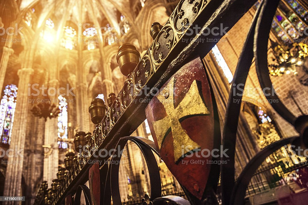 La Seu, Barcelona Cathedral - Cross detail royalty-free stock photo