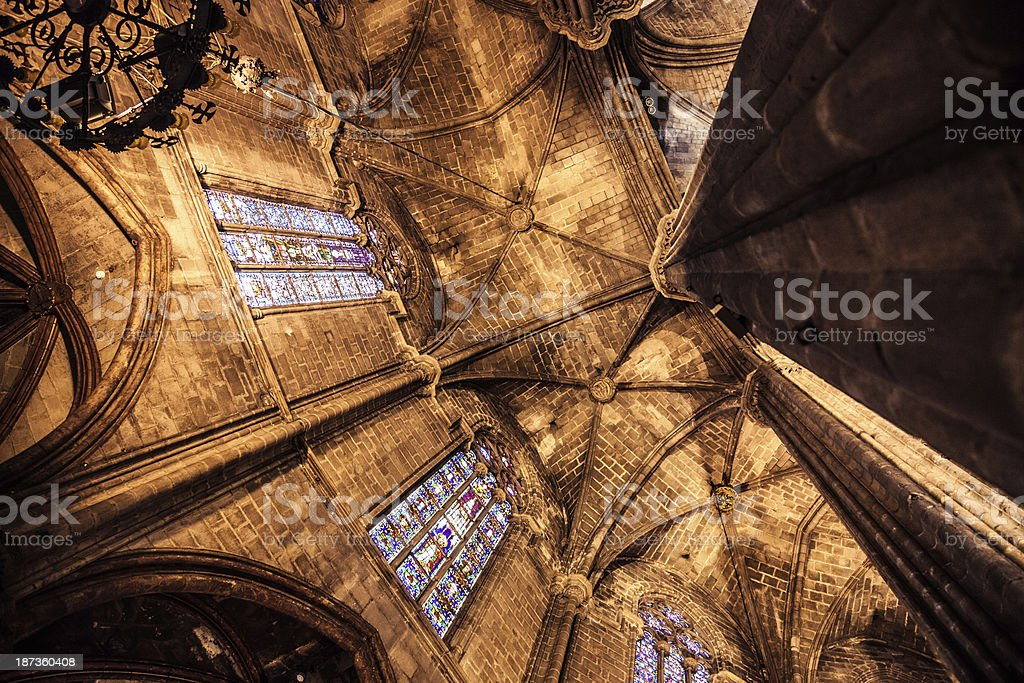 La Seu, Barcelona Cathedral - Looking up to the apse royalty-free stock photo