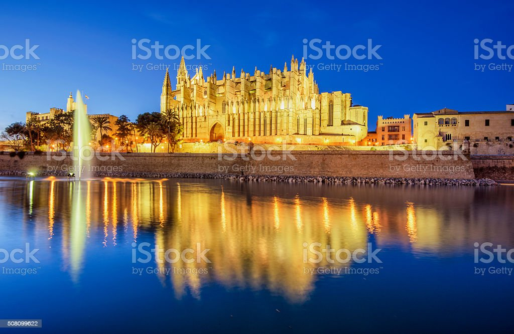 La Seu, Cathedral of Palma de Mallorca, at night stock photo