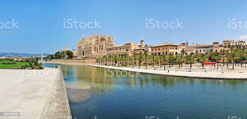La Seu panorama, Palma de Majorca stock photo