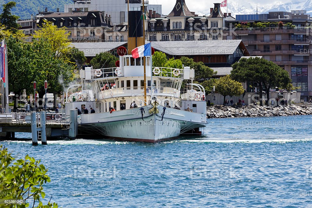 La Suisse paddelboat docked in Montreux stock photo