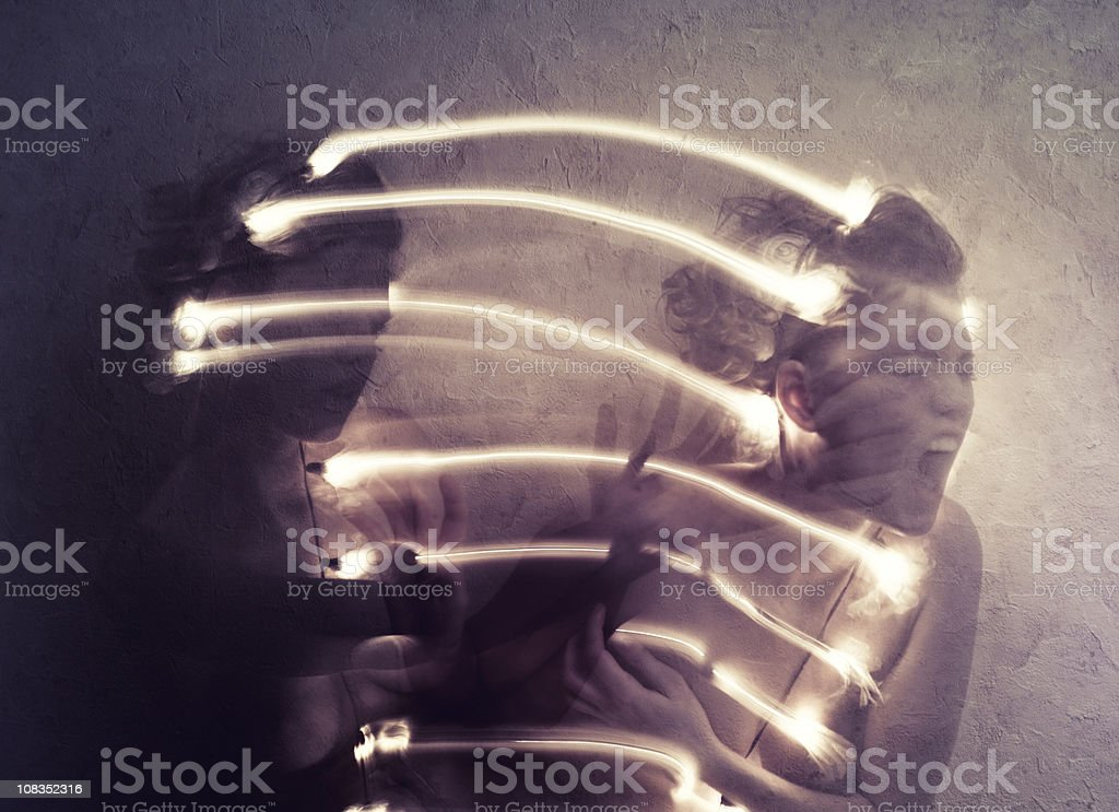 La théorie de l'énergie. fight with a self. royalty-free stock photo