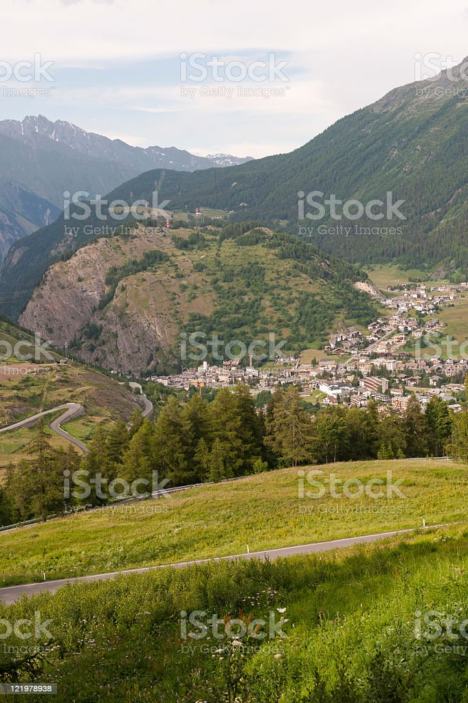La Thuile (Aosta, Italy) - Panoramic view at summer royalty-free stock photo