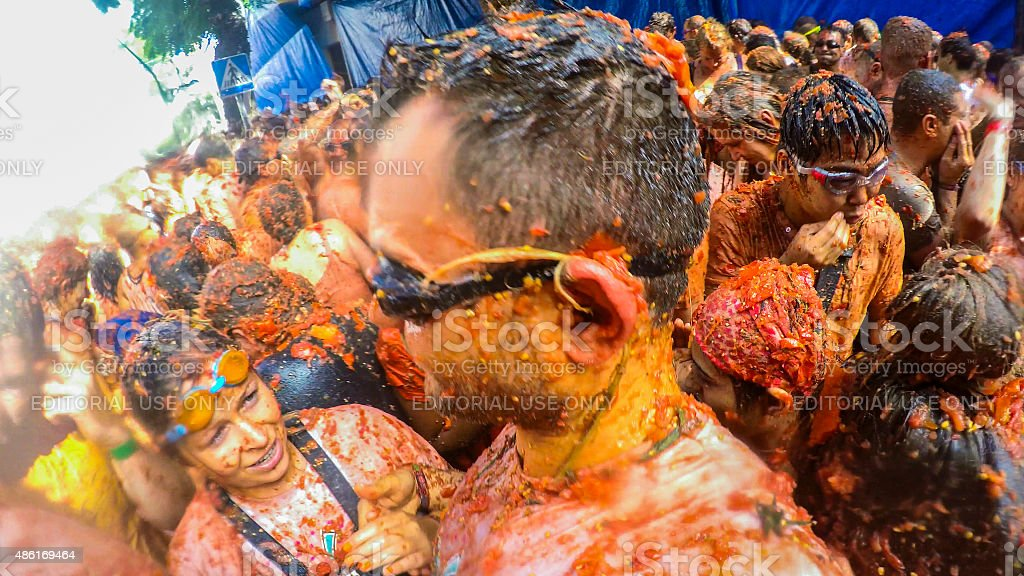 La Tomatina 2015 - Throwing Tomatoes Festival stock photo