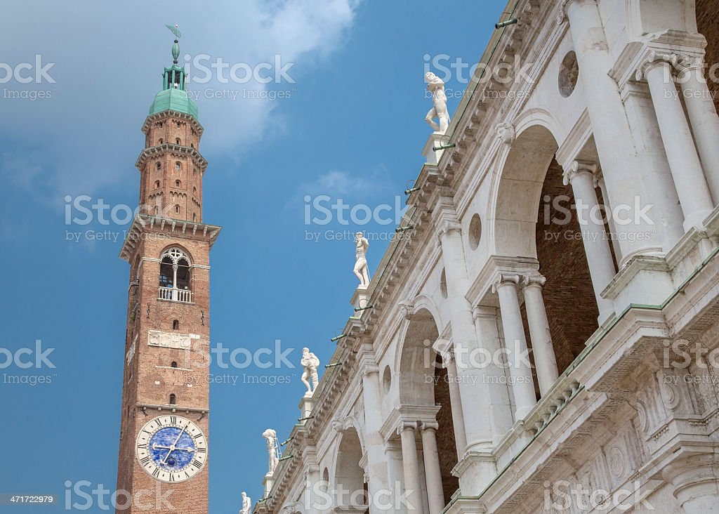 La Torre Bissara  and Basilica Palladiana in Vicenza, Veneto Italy stock photo