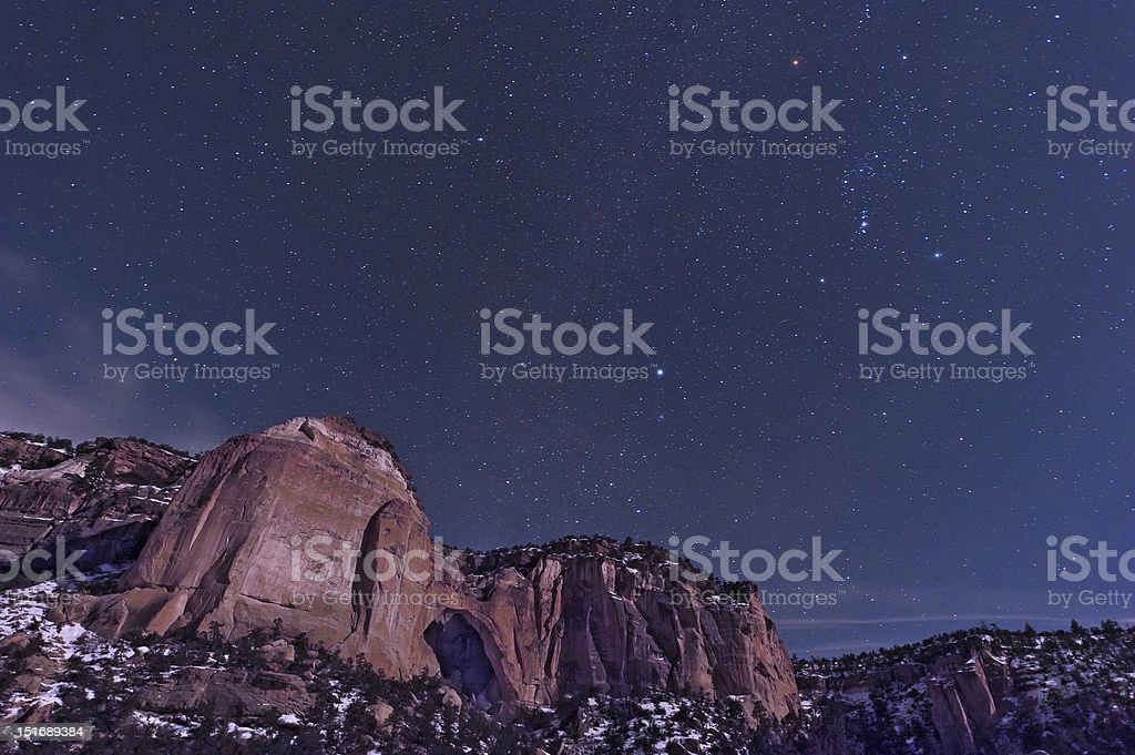 La Ventana Arch with Orion royalty-free stock photo
