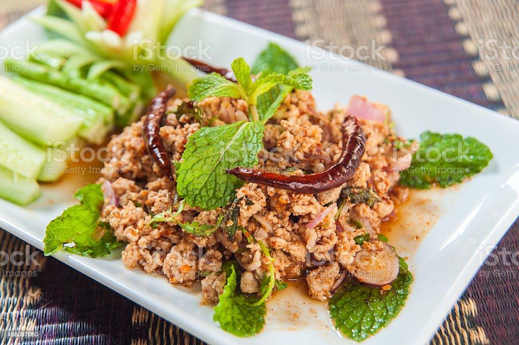 Laab Gai, spicy chicken stock photo