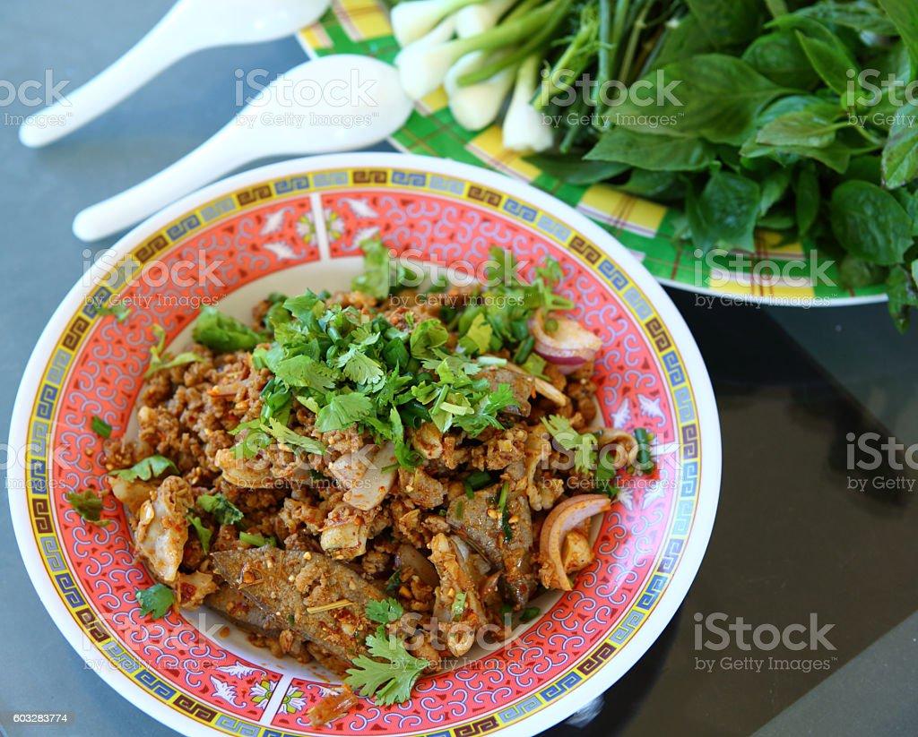 Laab. Thai Spicy minced meat salad stock photo