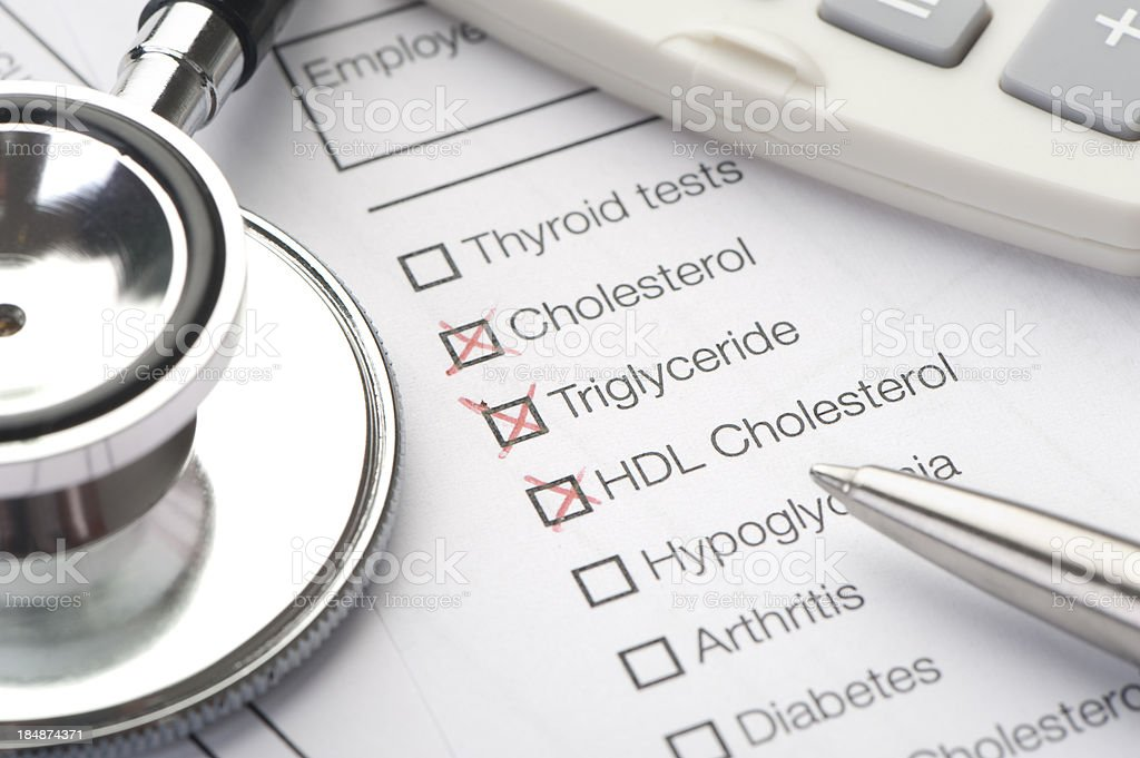 Lab report for cholesterol stock photo