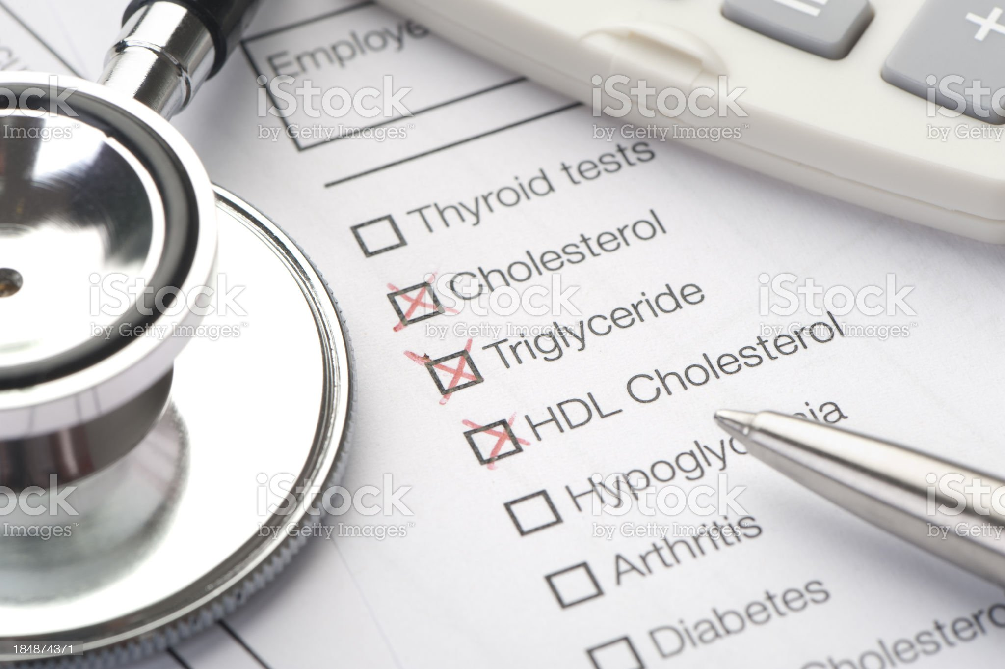 Lab report for cholesterol royalty-free stock photo