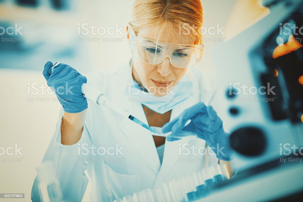 Lab research procedure. stock photo