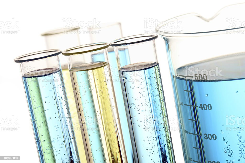 Lab research test tube and flask royalty-free stock photo