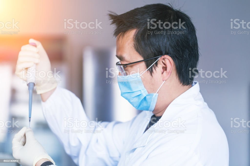 lab researcher working in the lab stock photo