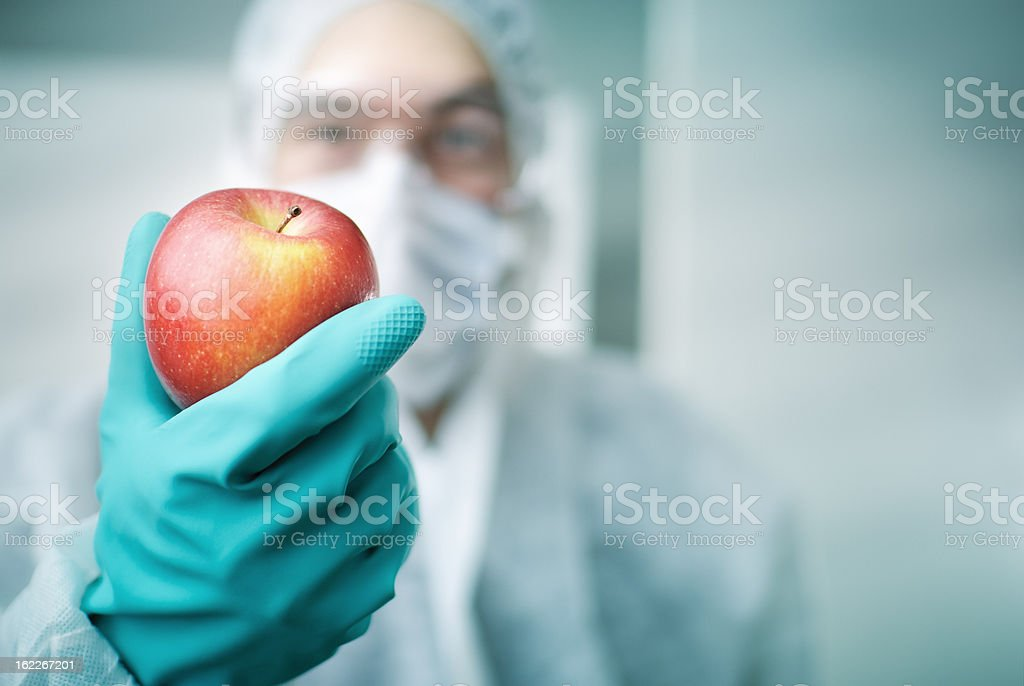 Lab Worker Holding Apple stock photo