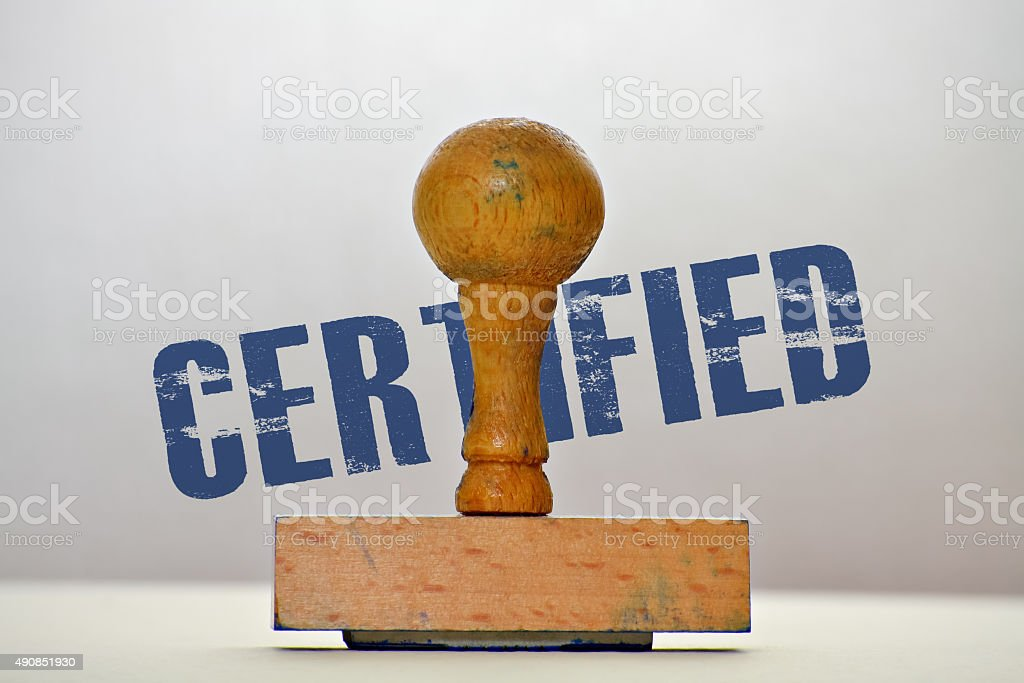 Label Certified stock photo