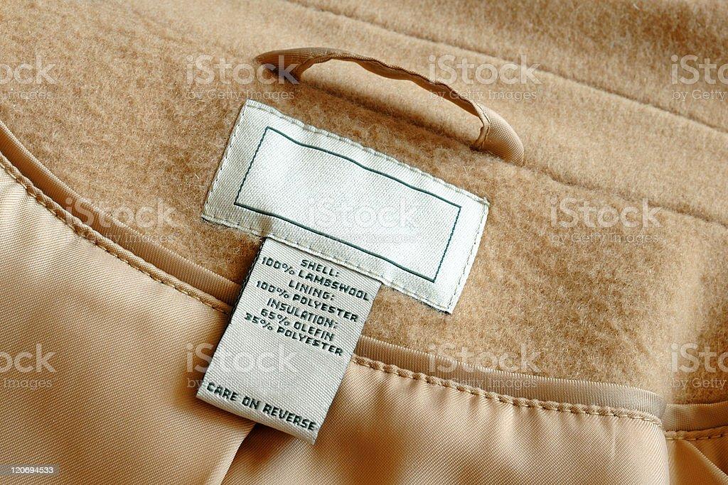 Label inside of coat stock photo