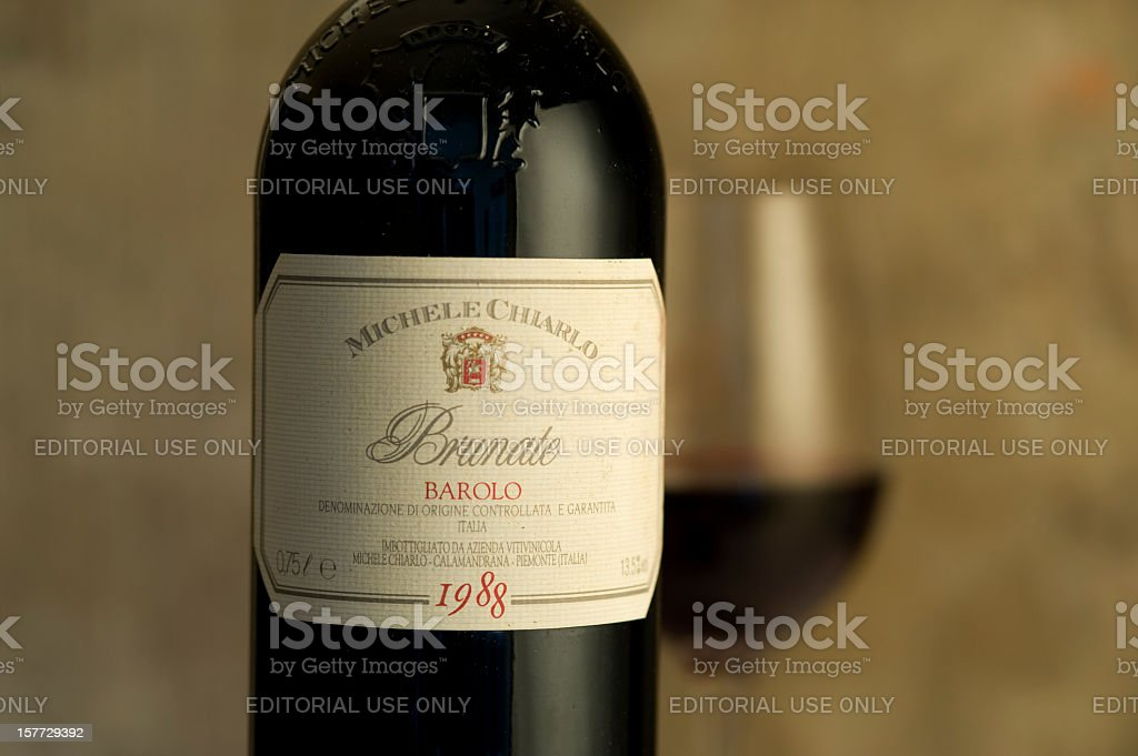 Label of a Barolo vine bottle from 1988 stock photo