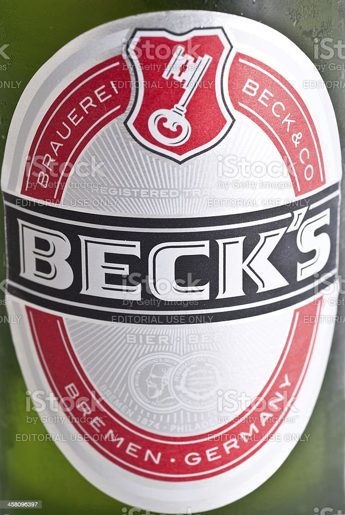 Label of Beck's beer stock photo