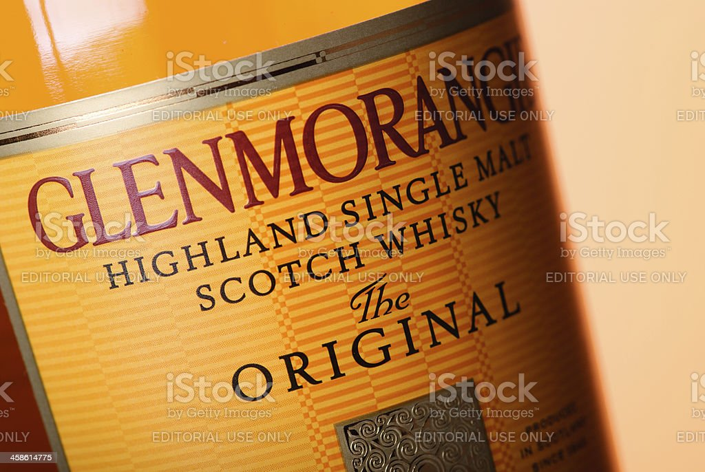 Label of Glenmorangie Whisky Bottle stock photo