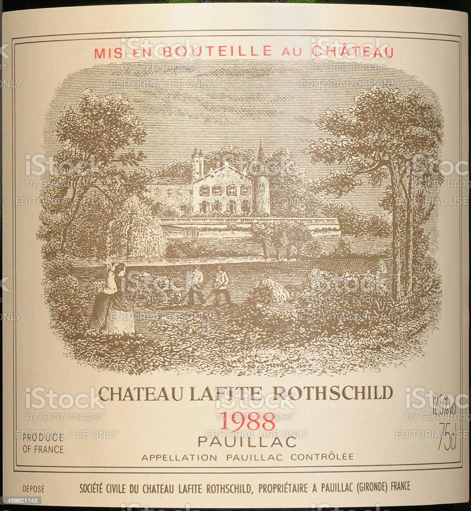 label of lafite rothschild stock photo