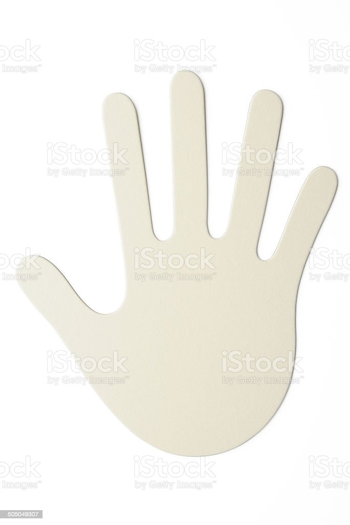 Label of the blank human hand shape on white background royalty-free stock photo