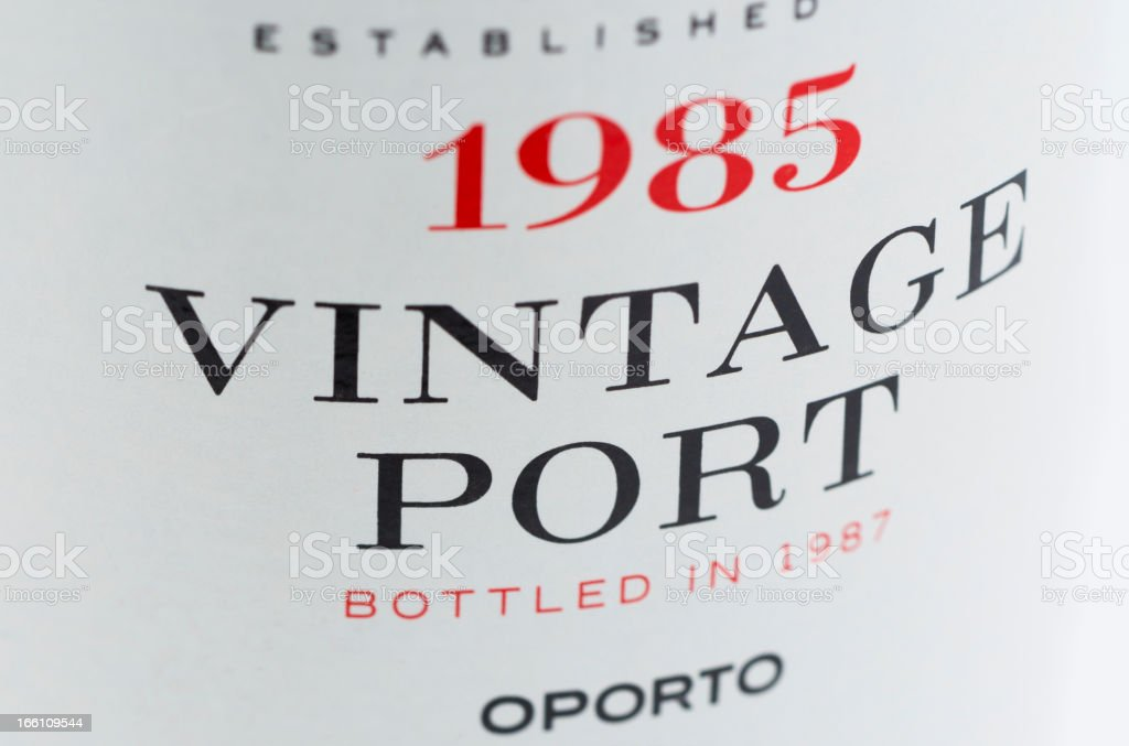 Label on a bottle of vintage port stock photo