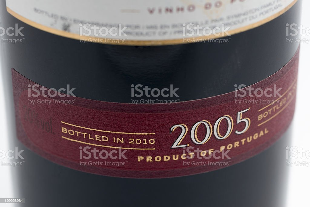 Label on a late bottled vintage port royalty-free stock photo
