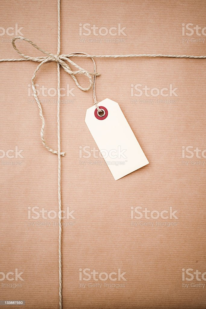 Label on a wrapped parcel stock photo