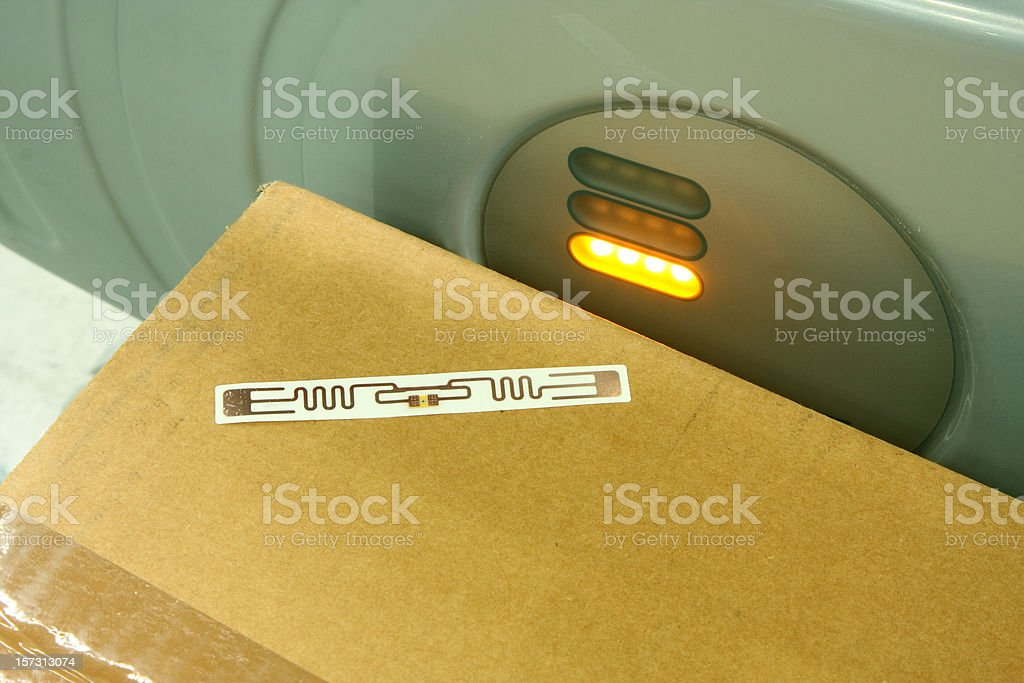 RFID label on box stock photo